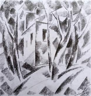 Abstract pencil painting House on the outskirts Peter
