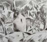 Abstract pencil painting City landscape Peter Tovpev