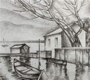 Pencil painting House on the shore Peter Tovpev