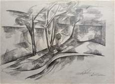 Abstract pencil painting On the shore Peter Tovpev