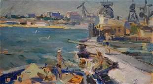 Oil painting Ship repair Strelnikov Vladimir
