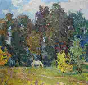 Oil painting Horse near the forest Zhabinsky A. M.
