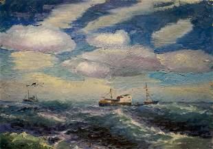 Oil painting Ships at sea
