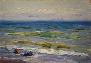Oil painting Ship at sea Strelov Arkady Efimovich