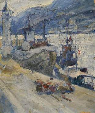 Oil painting In Port