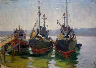 Oil painting Ships in port Kolomoitsev Petr