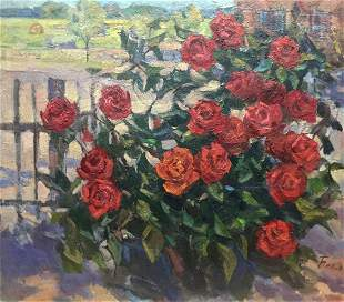 Oil painting Red roses Belov Victor Emelyanovich