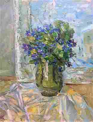 Oil painting Flower by the window Kalashnik Nikolai