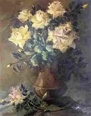 Oil painting Yellow roses Vol'shteyn Moisey L'vovich