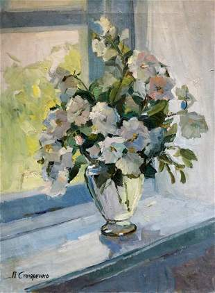 Oil painting Flower by the window Peter Kuzmich