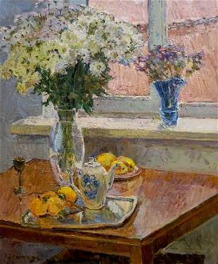 Oil painting Flowers by the window Peter Kuzmich