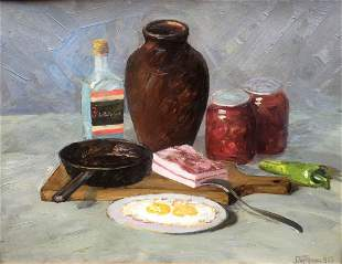 Oil painting food and drink salo eggs vodka bread,
