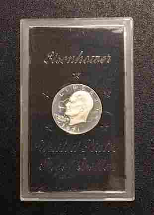 1971 Eisenhower Uncirculated Silver Dollar (brown Pack)