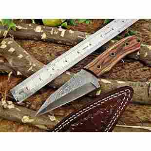 Bowie camping damascus steel knife dollar wood