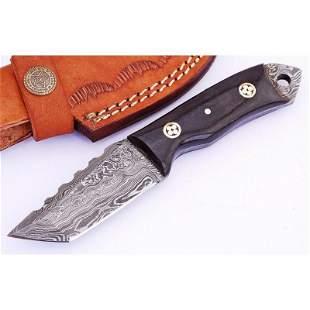 Handmade full tang damascus steel knife work bone