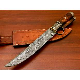 Bowie work damascus steel knife hunting natural wood