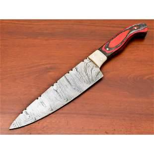 Chef exclusive pattern damascus steel knife bone wood
