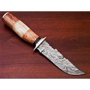Hunting work damascus steel knife camel bone olive wood