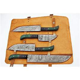 4 psc SET kitchen chef work damascus steel knife
