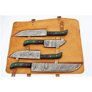 4 psc SET kitchen chef work damascus steel knife