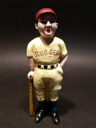 Cast Iron Slugger Coin Bank Baseball Player