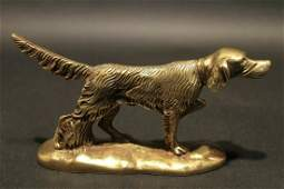 Brass Pointer Hunting Dog Paperweight Desk Statue