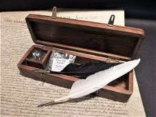 Wood Writing Box Desk Set w Inkwell 2 Feather Dip Pen