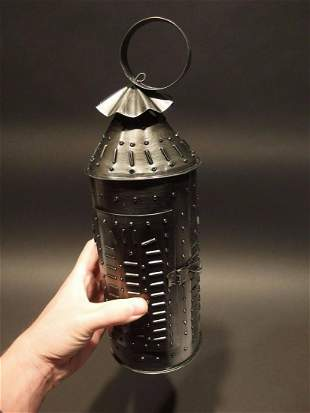 Punched Tin Rolled Iron Candle Lamp