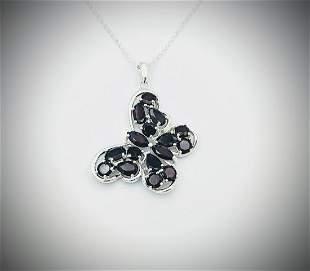 925 SS Necklace w Almandine Garnet Butterfly Pendant