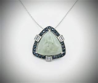 925 SS Necklace w Triangular Jade, Black Diamonds & CZ