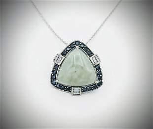 925 SS Necklace w Triangular Jade, Black Diamonds & CZ