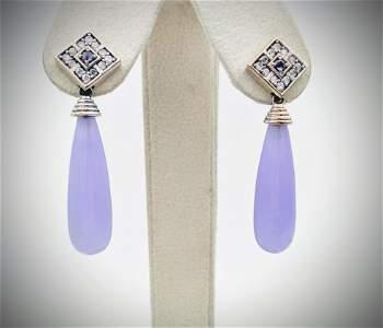 925 SS Tear Drop Violet Jade Earrings w Amethyst & CZ