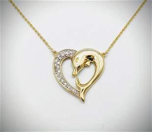 Love Dolphins Heart Necklace w Diamonds