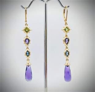 Multicolored Earrings w Amethyst, Blue Topaz & Peridot