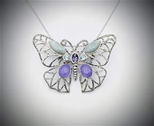 Necklace & Butterfly Brooch-Pendant w Amethyst, Blue