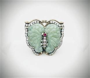Sterling Silver Sz 7 Large Butterfly Ring w Jade, Ruby