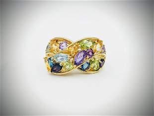 Sz 7 Multicolored Gemstone Ring