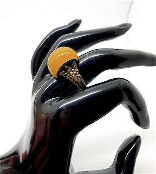 Exquisite Unique Vintage Amber Ring