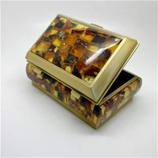 Phenomenal Unique Vintage Amber Jewellery box