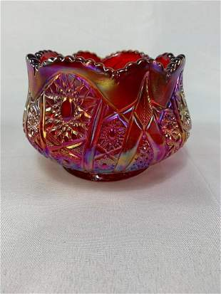Carnival Glass - Red/Pink Candy Dish