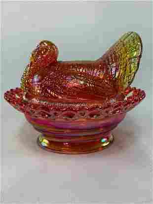 Carnival Glass Turkey on Nest