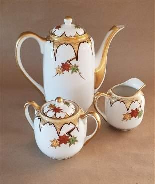Beauriful 1910 Art Deco Kutani Teapot Set