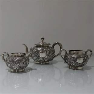 Antique Silver Chinese 3 piece Teaset Hong Kong circa