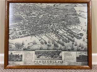 Framed Antique of Navy Yard - Great Detail!