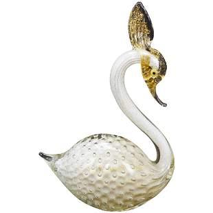 1950s Italian Saliati Murano Glass Gold Fleck Swan
