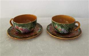 Pair of Antique French Majolica Fruit Coffee Cups
