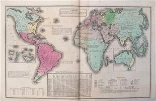 1835 Smith World Map -- A Chart Exhibiting the Actual