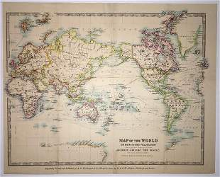 Map of the World On Mercators Projection Showing Rev.