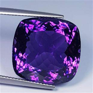 26.50Ct AAA Quality Cushion Cut Natural Amethyst