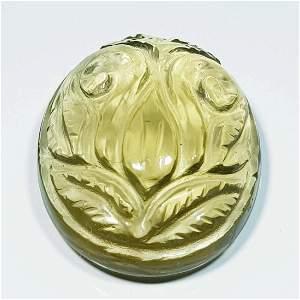 49.53 Ct Natural Greengold Quartz Flower Face Oval